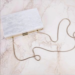 New! Rachel Zoe lucite marble box of style clutch